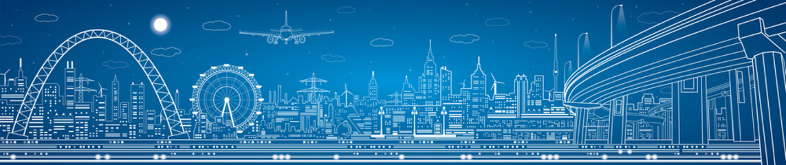 Industrial panorama, technology landscape night city