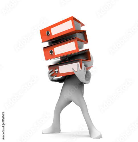 3d man carrying stacked red folder