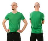 Man wearing blank green shirt