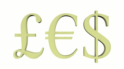 Currency Symbols GBP EUR USD in motion