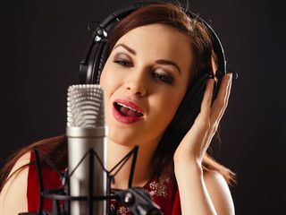Singing into a professional microphone