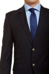 black suit with blue tie
