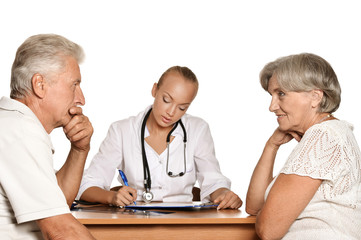 Elderly patients couple came to visit a doctor