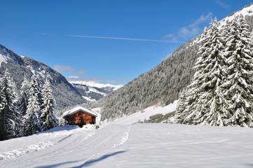 refuge niché dans montagne enneigée