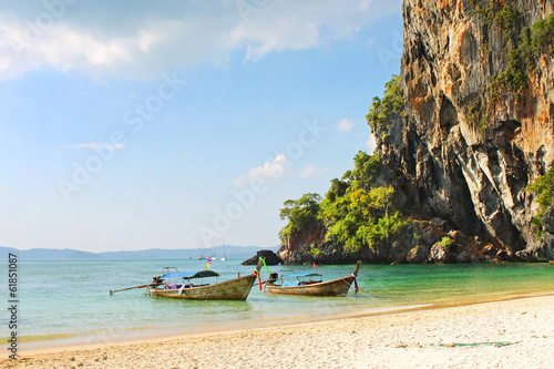 Holiday vacation concept background - Long tail boat
