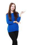 woman in blue sweater pointing
