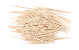 Group Wooden Toothpicks On White