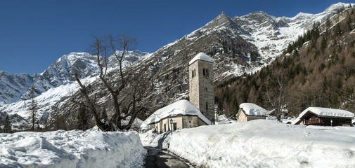 Old Church in winter season, Macugnaga - Italy