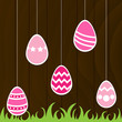 Easter Eggs with wooden background