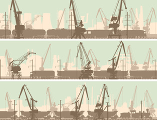 Vector banners of  industrial city with cargo crane tower.