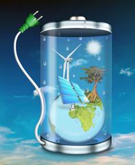 Akku, Batterie, grüner Strom