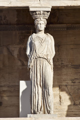 Caryatid ancient statue, erechteion temple, Athens Greece
