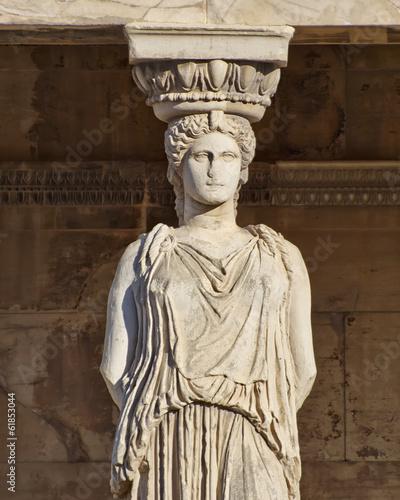 Staande foto Athene Caryatid ancient statue, erechteion temple, Athens Greece