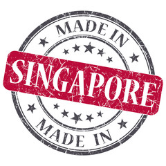 made in SINGAPORE red grunge stamp isolated on white background