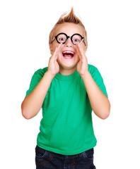 Boy in green shirt screaming out shout