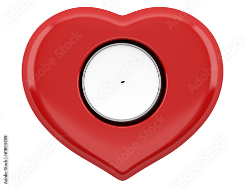 top view of red heart-shaped candlestick with candle isolated on