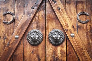 Pareja de cabezas de leon