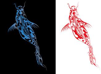 Beautiful vector ornament with Japan koi fish