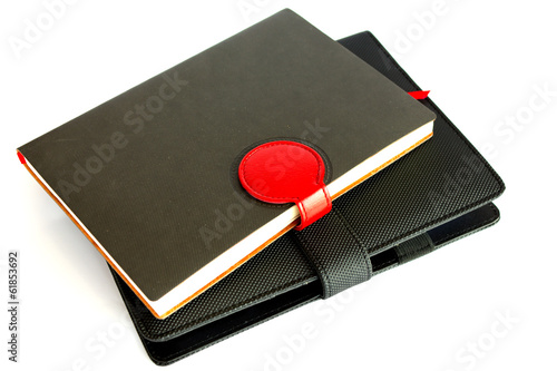 black notebook isolated on white background, conservation concep