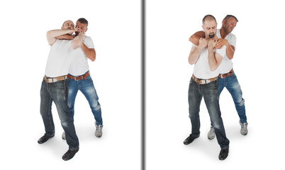 Man defending against a headlock