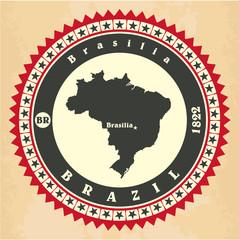 Vintage label-sticker cards of Brazil.