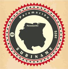 Vintage label-sticker cards of Suriname.