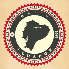 Vintage label-sticker cards of Ecuador.