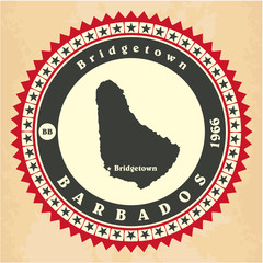 Vintage label-sticker cards of Barbados.