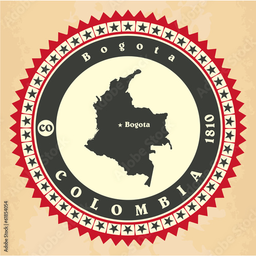Vintage label-sticker cards of Colombia.