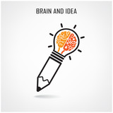 Creative brain and pencil sign