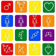 Set of LGBT icons various sexual identities