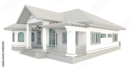 3D vintage house exterior design in isolated background
