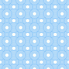 Blue and White Circles Tiles Pattern Repeat Background