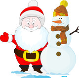 Nice cartoon Santa with snowman - are the best friends