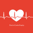 Medical design - white heart with cardiogram on red background