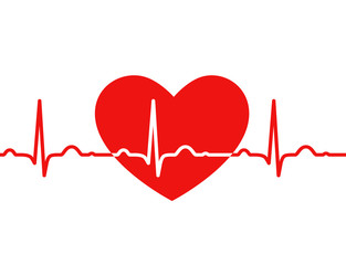 Red heart with ekg on white - medical design