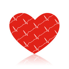 Vector red heart on white with ecg symbols in it