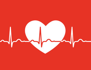 White heart with ekg symbol on red background - medical design