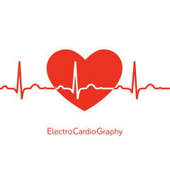 Medical design - red heart with cardiogram on white background