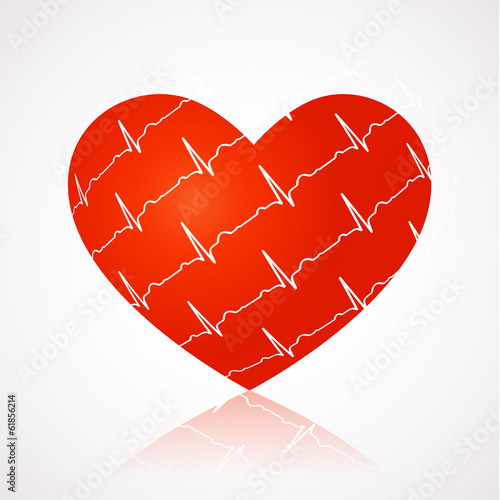 Medical background - red heart with ekg symbols across