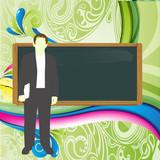 profesor con pizarra enseñando