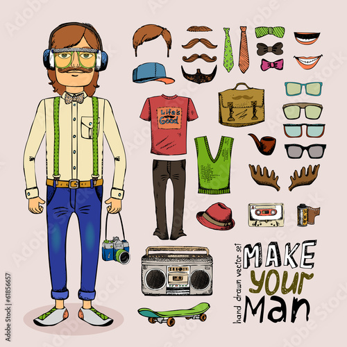 sketch male hipster set