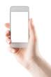 Leinwandbild Motiv Hand holding smartphone with blank screen isolated