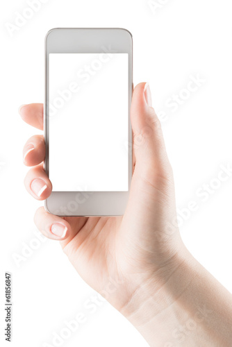 Hand holding smartphone with blank screen isolated