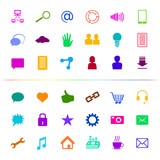 Social Media Icon Button Multi-color; eps8