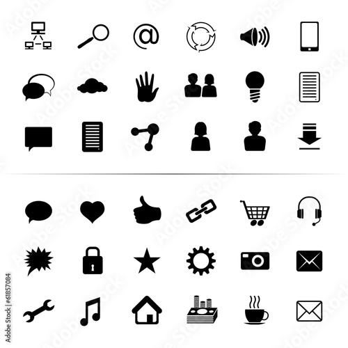Social Media Icon Button Black Monochrome