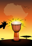 Abstract african drum and african landscape