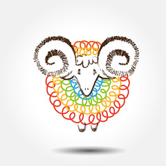 Vector EPS10 graphic illustration of  colored sheep .