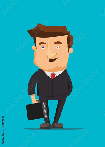 Businessman real estate investor holding briefcase illustration