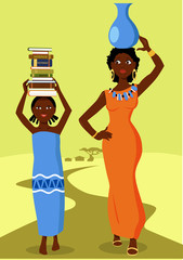 African girl going to school